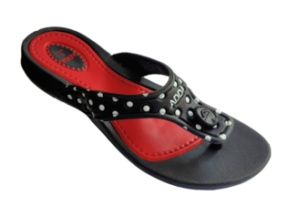 ADDA Touch 5 Lady's Black Red EVA Thong Washable Casuals Slippers